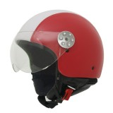Casca moto jet MT RETRO LEATHER RED