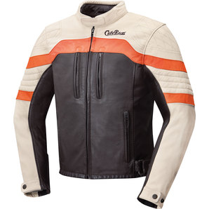 Geaca moto piele CAFE RACER ORANGE VINTAGE LEATHER JACKET
