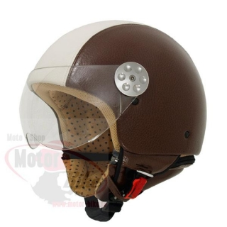 Casca moto jet MT RETRO LEATHER bicolor