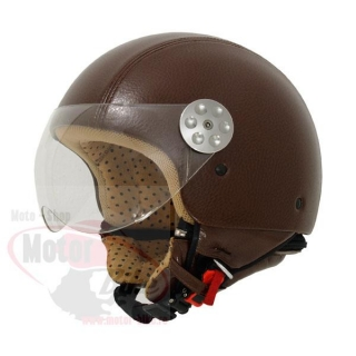Casca moto jet MT RETRO LEATHER maro